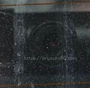 プリウスPHV52のリアガラスのドラレコ画像。この位置だと結構ちゃんと映ります